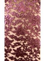 Desenli Tül Üzeri Mor Nakışlı Payetli Abiyelik Kumaş - K9629