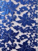Desenli Tül Üzeri Sax Nakışlı Payetli Abiyelik Kumaş - K9629