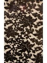 Desenli Tül Üzeri Siyah Nakışlı Payetli Abiyelik Kumaş - K9629