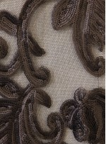 Büyük Çiçek Desenli Mat Siyah Payetli Abiye Kumaş - K9632