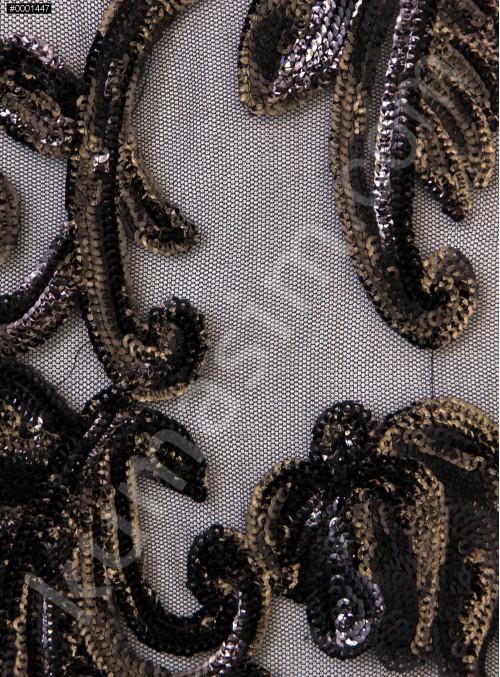 Büyük Çiçek Desenli Parlak Siyah Payetli Abiye Kumaş - K9632