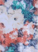 Çiçek Desenli Çok Renkli Şeffaf Payetli Baskılı Gold Kumaş - K9633