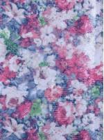 Çiçek Desenli Çok Renkli Şeffaf Payetli Baskılı Kırmızı Kumaş - K9633