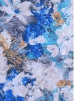 Çiçek Desenli Çok Renkli Şeffaf Payetli Baskılı Mavi Kumaş - K9633