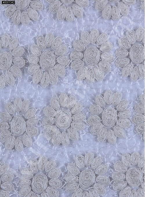 File Üzeri Çiçek Desenli Kemik Kordone Kumaş - K9634