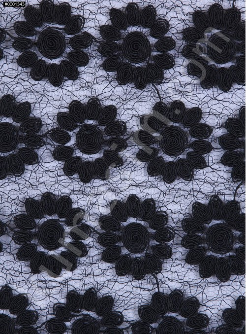 File Üzeri Çiçek Desenli Siyah Kordone Kumaş - K9634