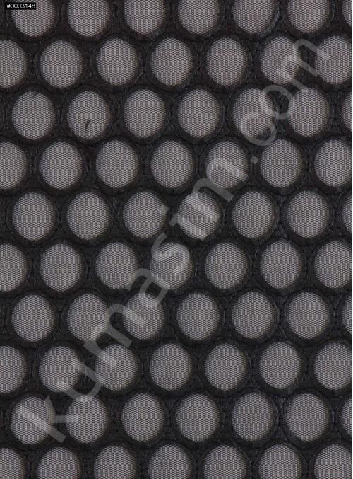 Daire Desenli Lazer Kesim Siyah Deri Kumaş - K9635