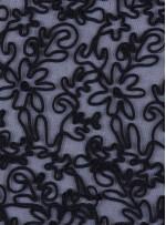 Tül Üzeri Çiçek Desenli Kordone Siyah Kumaş - K9638