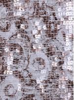 Dantel Üzeri Payetli Bakır Abiyelik Kumaş - K9641