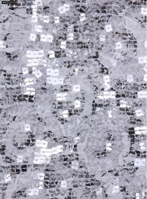 Dantel Üzeri Payetli Gümüş Abiyelik Kumaş - K9641