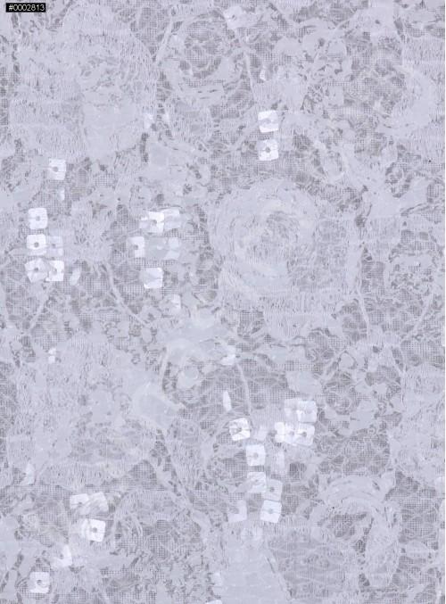 Dantel Üzeri Payetli Kemik Abiyelik Kumaş - K9641