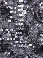 Dantel Üzeri Payetli Siyah Gümüş Abiyelik Kumaş - K9641