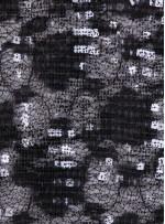 Siyah Dantel Üzeri Siyah Varak ve Şeffaf Payetli Kumaş - K9642