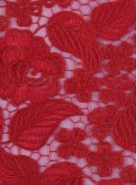 Çiçek ve Yaprak Desenli Kalın Kırmızı Kordoneli Güpür Kumaş - K9644