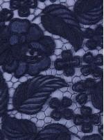 Çiçek ve Yaprak Desenli Kalın Lacivert Kordoneli Güpür Kumaş - K9644