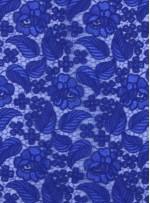 Çiçek ve Yaprak Desenli Kalın Sax Kordoneli Güpür Kumaş - K9644