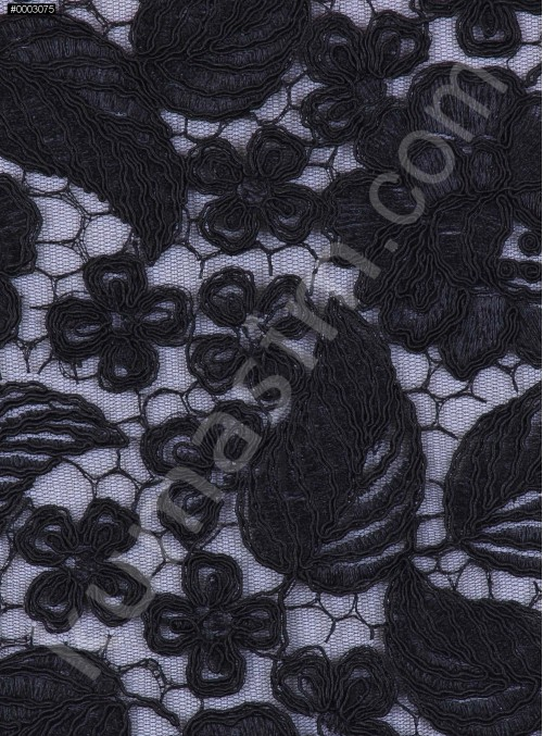 Çiçek ve Yaprak Desenli Kalın Siyah Kordoneli Güpür Kumaş - K9644