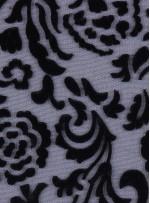 Tül Üzeri Flok Baskı Şeklinde Kadife Desenli Siyah Kumaş - K9648