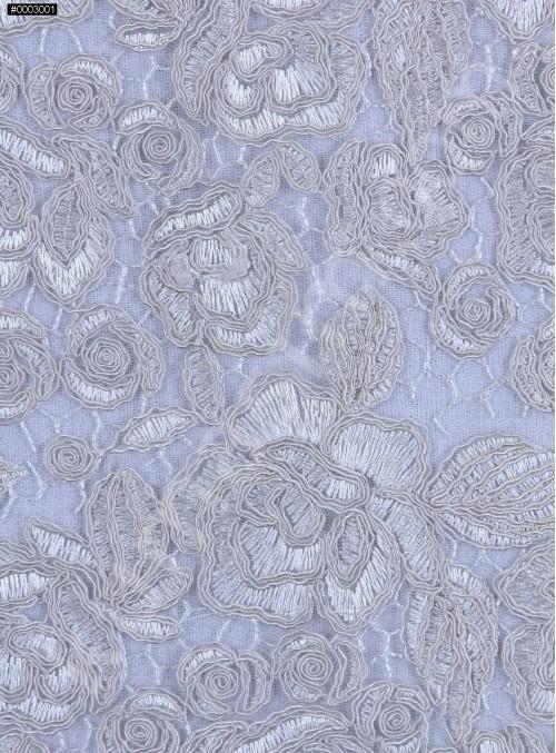 Kalın Kordoneli Güpür Yaprak Desenli Kemik Kumaş - K9651