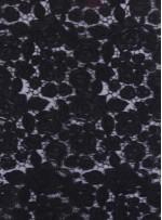 Kalın Kordoneli Güpür Yaprak Desenli Siyah Kumaş - K9651