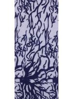 Ağaç Dalı ve Damar Desenli Nakışlı Lacivert Kumaş  - K9653