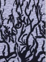 Ağaç Dalı ve Damar Desenli Nakışlı Siyah Kumaş  - K9653