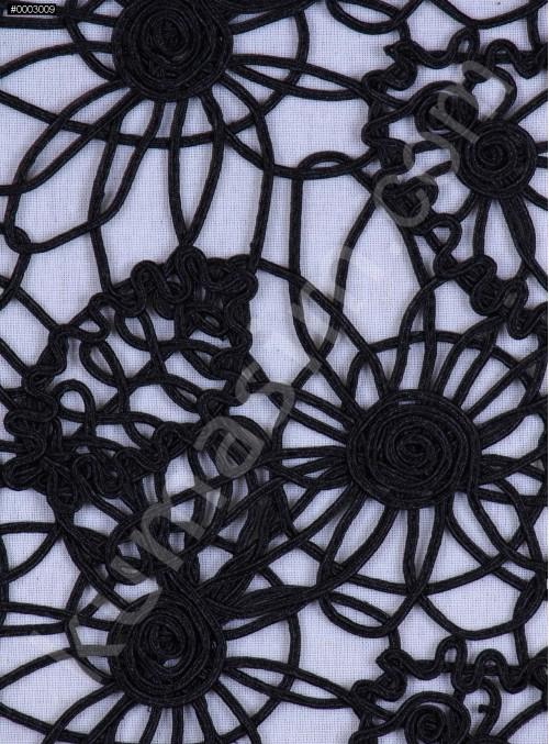 Kalın Kordoneli Siyah Güpür Kumaş - K9655