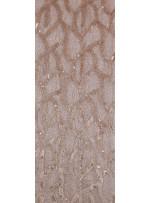 Tül Üzeri Karışık Desenli Simli Payetli Gold Kumaş - K9656