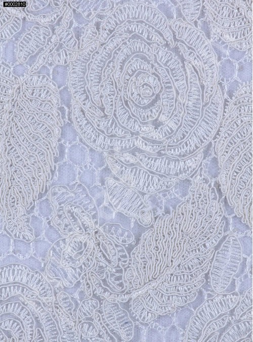 Çiçek Desenli Kordoneli Kemik Güpür Kumaş - K9661