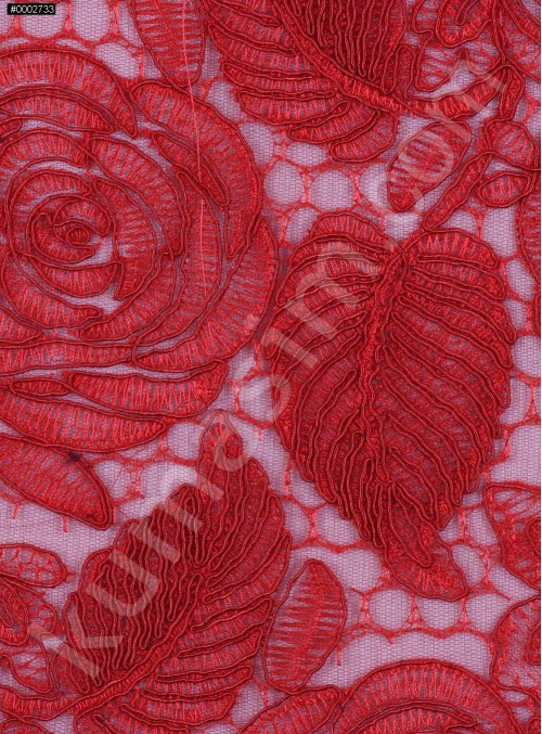 Çiçek Desenli Kordoneli Kırmızı Güpür Kumaş - K9661