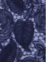 Çiçek Desenli Kordoneli Lacivert Güpür Kumaş - K9661