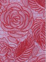 Çiçek Desenli Kordoneli Mercan Güpür Kumaş - K9661
