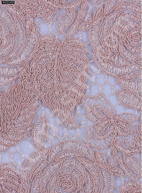 Çiçek Desenli Kordoneli Pudra Güpür Kumaş - K9661