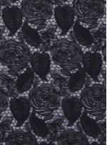 Çiçek Desenli Kordoneli Siyah Güpür Kumaş - K9661