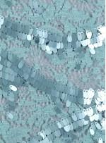 Dantel Üzeri Dalga Desenli Armut Payetli Mint Yeşili Kumaş - K9662