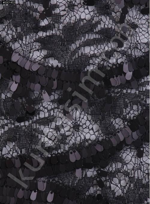 Dantel Üzeri Dalga Desenli Armut Payetli Siyah Kumaş - K9662