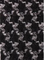 Üç Boyutlu Çiçekli Siyah Güpür Kumaş - K9663