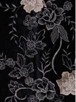 Siyah Kadife Üzeri Üç Boyutlu Gold Abiyelik Kumaş - K9670