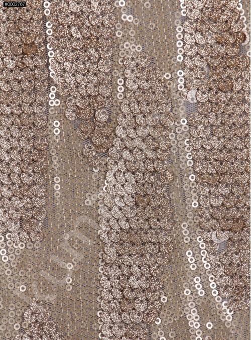 Akış Desenli Simli Gold Payetli Abiyelik Dore Kumaş - K9672