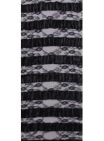 İnce Fransız Danteli Üzeri Deri İşlemeli Kumaş - K9673