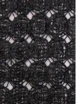 Hasır Görünümlü Gül Desenli File Kumaş - K9674