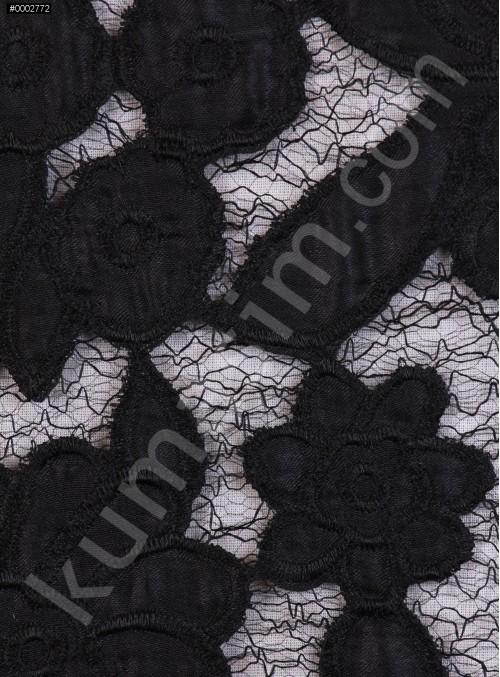 File Üzeri Çiçek Desenli Siyah Abiyelik Kumaş - K9677
