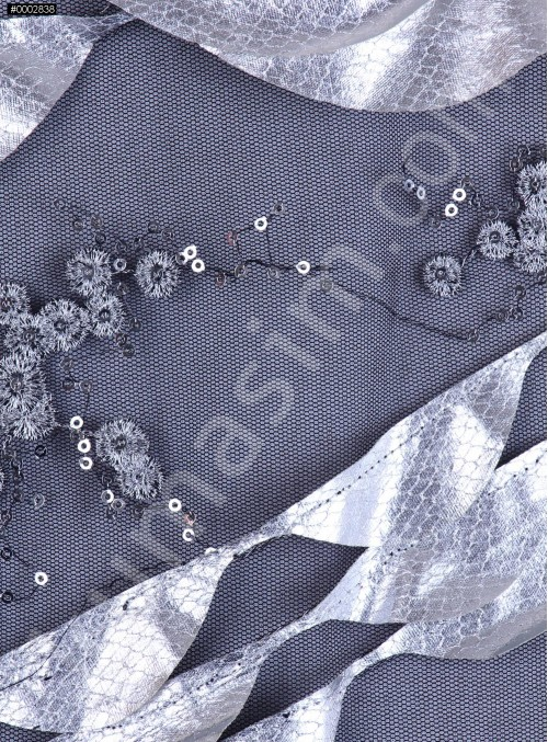 Deri Laseli Gümüş Payetli Abiyelik Kumaş - K9678