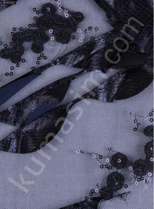 Deri Laseli Siyah Payetli Abiyelik Kumaş - K9678