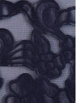 Çiçek Desenli Lacivert Deri Kumaş - K9679