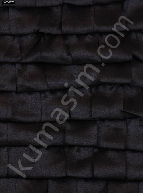 Dilim Desenli Siyah Saten Abiyelik Kumaş - K9680
