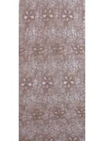 Ağ ve Çiçek Desenli Camel Abiyelik Güpür Kumaş - K9682