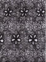 Ağ ve Çiçek Desenli Kahve Abiyelik Güpür Kumaş - K9682