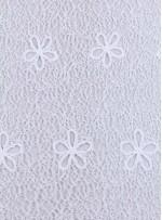 Ağ ve Çiçek Desenli Kemik Abiyelik Güpür Kumaş - K9682
