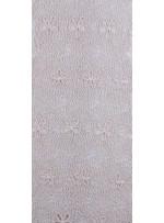 Ağ ve Çiçek Desenli Krem Abiyelik Güpür Kumaş - K9682